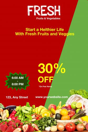 Fresh Fruit & Vegetable Poster - 26 (24x36)