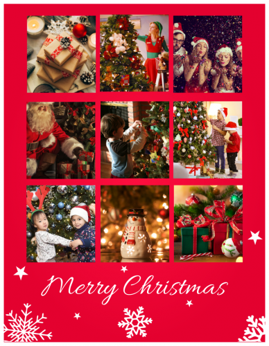 Sending You Peace Love And Joy Christmas Photo Collage (8.5x11)