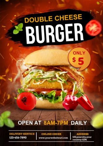 Double Cheese Burger Restaurant Flyer (6.25x9)