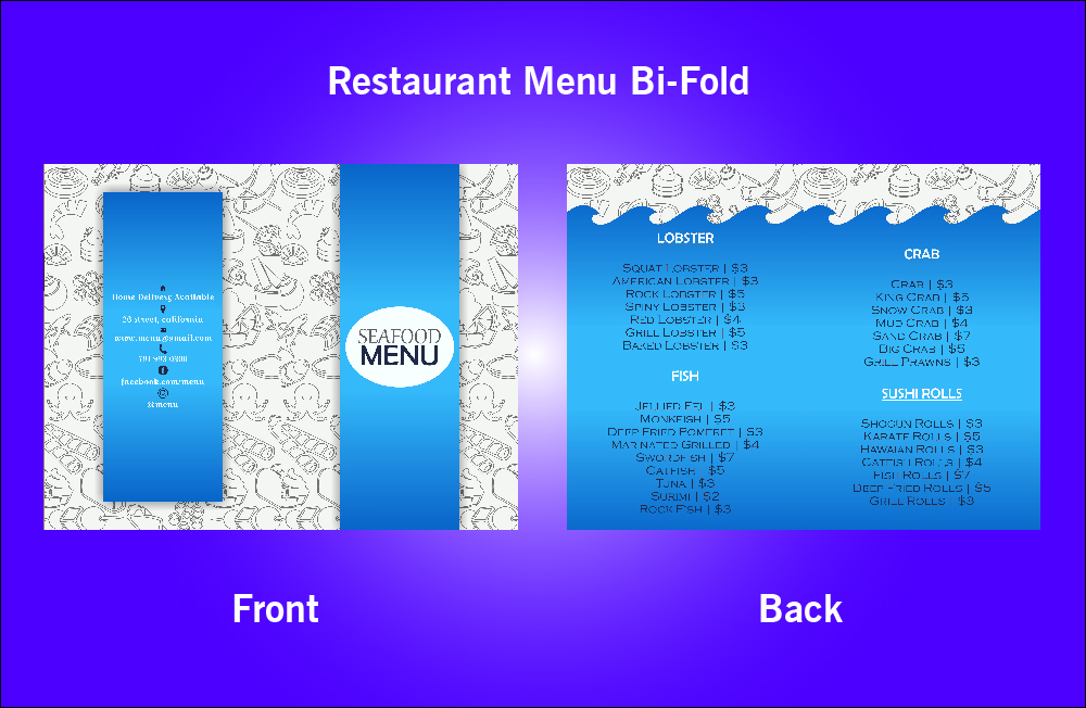 Restaurant Sea Food Bi-Fold Menu - V41 (11.x8.5)