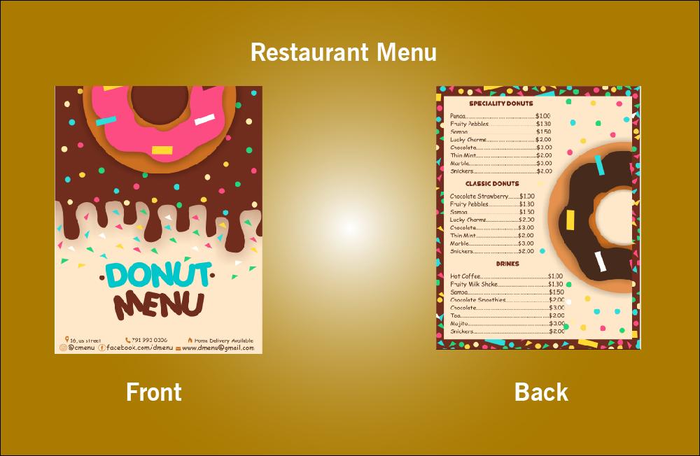 Restaurant Donut Menu - V28 (8.5x11)