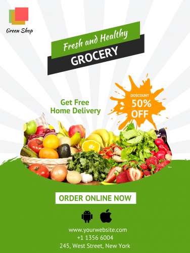 Fresh & Healthy Grocery Poster -37 (18x24)