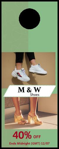 M & W Shoes Door Hanger (4.25x11)