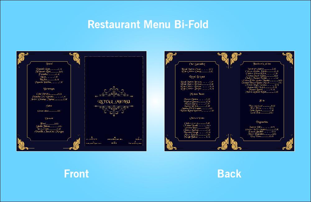 Restaurant Royal Menu Bi-Fold - S1 (11x8.5)
