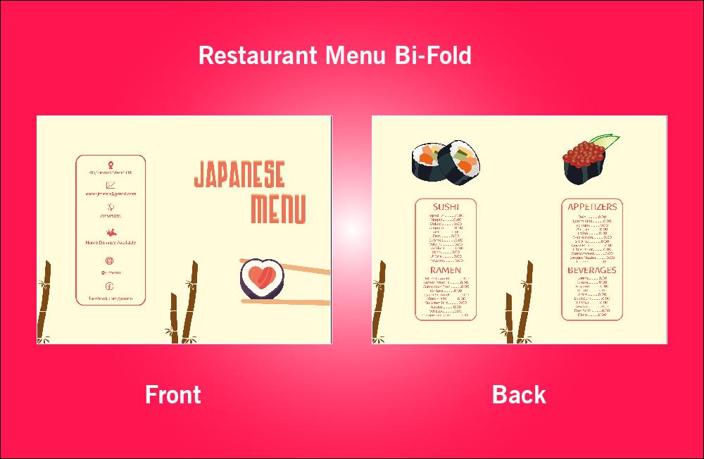 Restaurant Japanese Menu Bi-Fold - S2 (11x8.5)