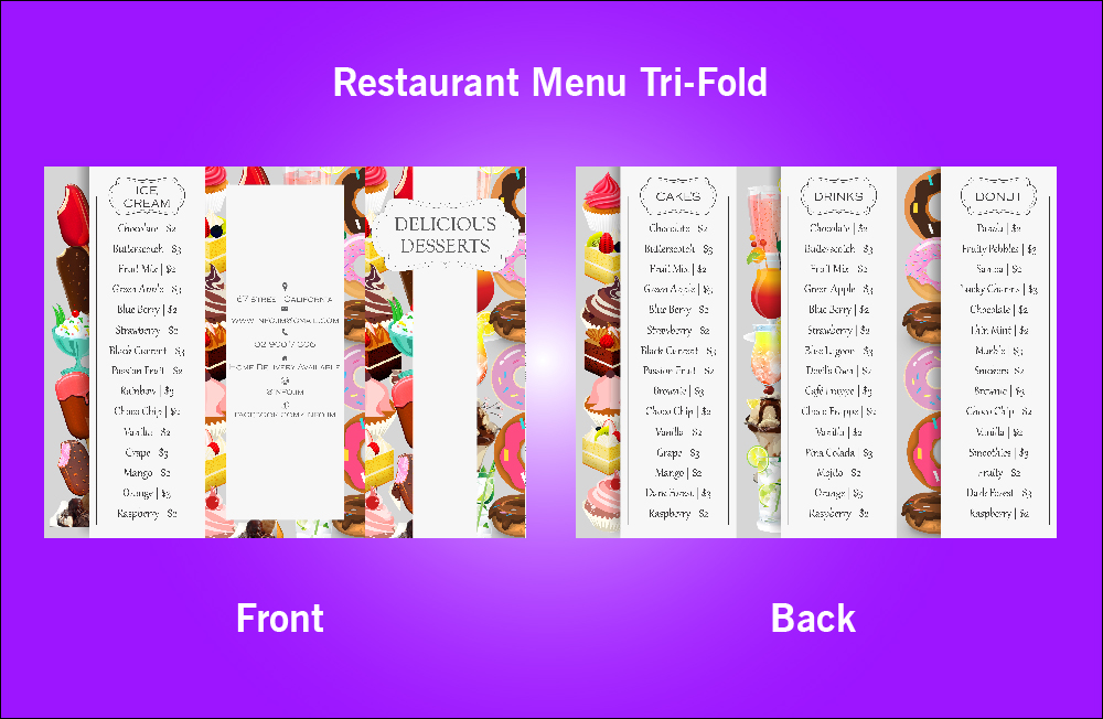 Restaurant Delicious Dessert Tri-Fold Menu - V46 (11.x8.5)